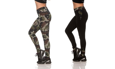 Women's Camo Print Activewear Leggings with Media Pocket (2-Pack) (Sizes M & L) c446c66a-91b6-4071-b925-348016528a17