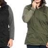 Ladies' Plus-Size Double-Closure Parka Jacket with Cotton-Melange Hood