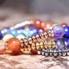 Genuine Gemstone Beaded Chakra Bracelets by Pink Box (3-Pack)