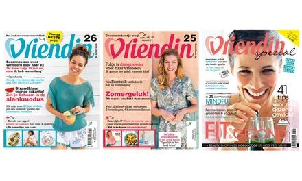 14 of 28 weken het magazine Vriendin in huis, naar keuze met 2 Specials, het abonnement stopt automatisch