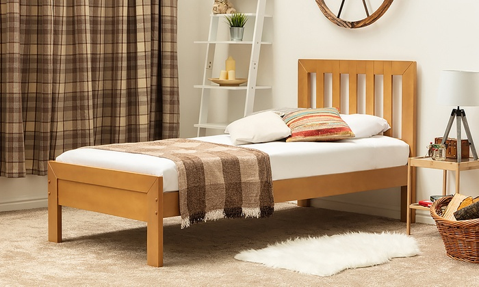 Farmhouse Style Oak Finish Wooden Bed Frame with Optional Orthopaedic Mattress from £145