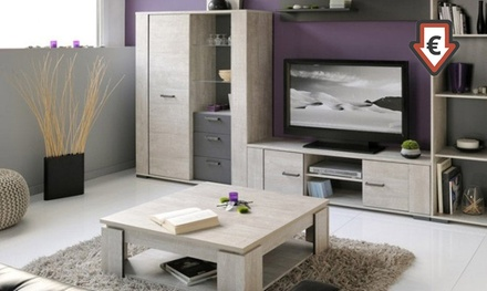 Meuble tv table basse cali groupon for Meuble tv mural groupon
