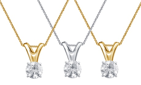 Round Cut Diamond Solitaire Pendant in 14K White or Yellow Gold by Brilliant Diamond 5f385e14-d65f-11e6-8d8d-00259060b5da