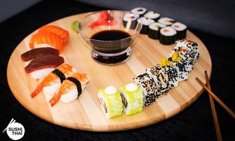 Menú take away para 2 o 4 personas con ensalada, tartar, bandeja de sushi y botella de vino desde 19,95 € en SushiThai