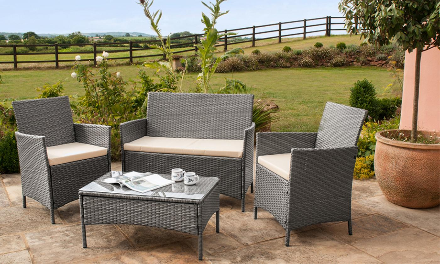 Roma Four-Seat Rattan-Effect Garden Furniture Set with Optional Cover (£159.98)