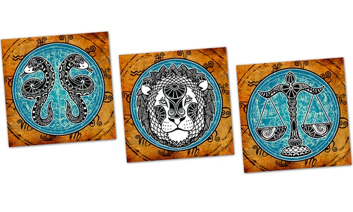 """Grunge Zodiac Signs on 16""""x16"""" Metal Panels: Grunge Zodiac Signs on 16""""x16"""" Metal Panels. Multiple Zodiac Signs Available. Free Returns."""