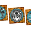 "Grunge Zodiac Signs on 16""x16"" Metal Panels"