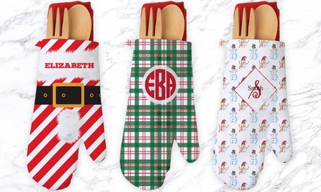 One or Two Gift-Wrapped Personalized Oven Mitt Sets from Monogram Online (Up to 26% Off) photo
