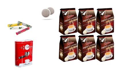Lot de 216 dosettes compatibles Senseo® Domino  avec 100 sticks de sucre et une boîte à dosettes