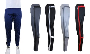 Galaxy by Harvic Men's Slim-Fit Moisture Wicking Striped Jogger Pants