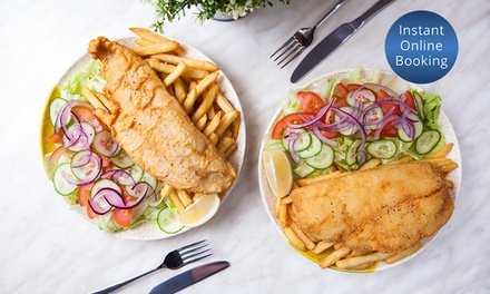 Fish with Chips and Garden Salad for One ($10), Two ($19) or Four People ($37) at Fishi Market (Up to $79.32 Value)