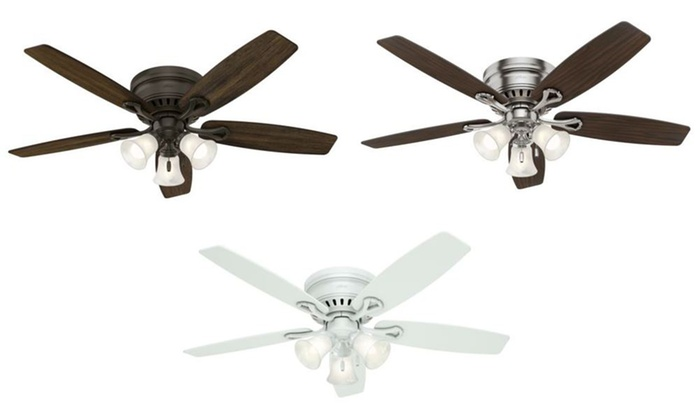 Up to 45 off on hunter 52 mount ceiling fan groupon goods hunter 52 flush mount ceiling fan with led lights refurbished mozeypictures Image collections