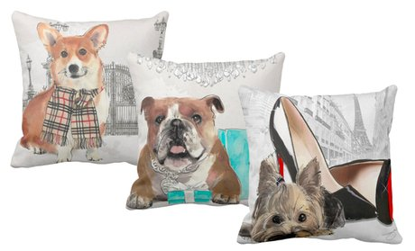 LiLiPi Fashion Pillow with Dog Prints By Jodi