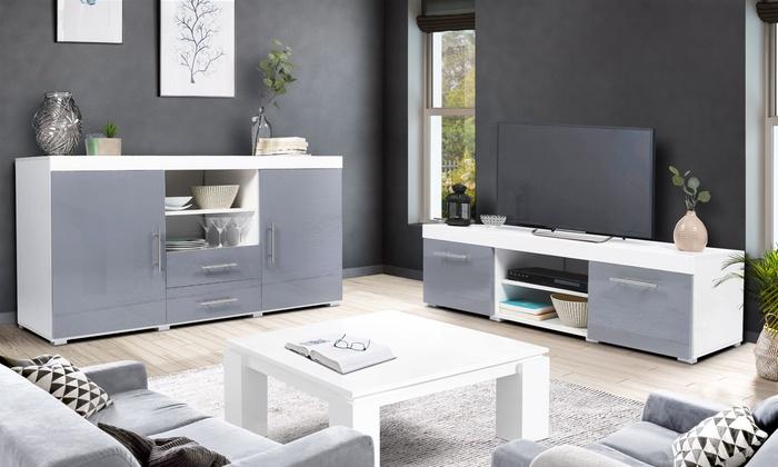 Meubles De Salon Modele Bristol Composes D Un Meuble Tv Et D Un Buffet Vendus Separement Livraison Offferte