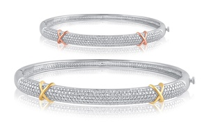 Diamond Accent Bangle in 14K Rose or White Gold Plating