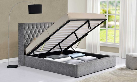 Diamante Button Wing Back Bed