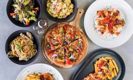 Two ($22) or Four Pizzas and Pastas ($44) with Garlic Bread and Drink at Papamero (Up to $78 Value)