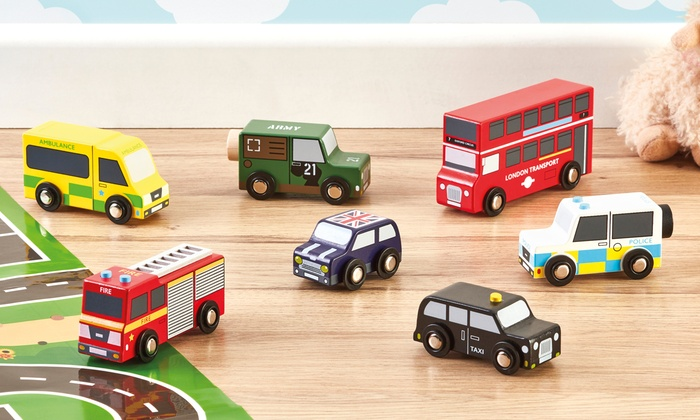 My Play Seven-Piece Wooden London Toy Car Set