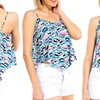 Women's Multi-Colored Dimensional Print Flowy Top