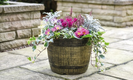 One, Two or Five Whiskey Barrel Planters