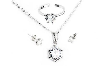 1 o 2 conjuntos de joyería con anillo, collar y pendientes