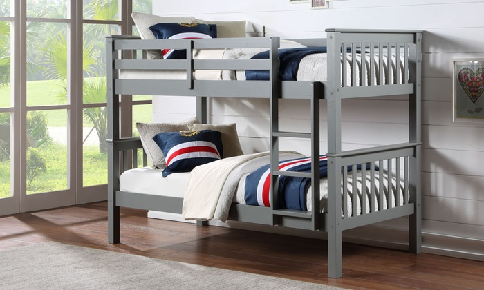 Oxford Wooden Bunk Bed with Two Optional Single Mattresses for £199