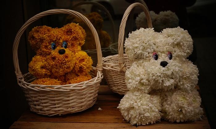Bear-Shaped Flower Arrangement - Florist Gummy Bears