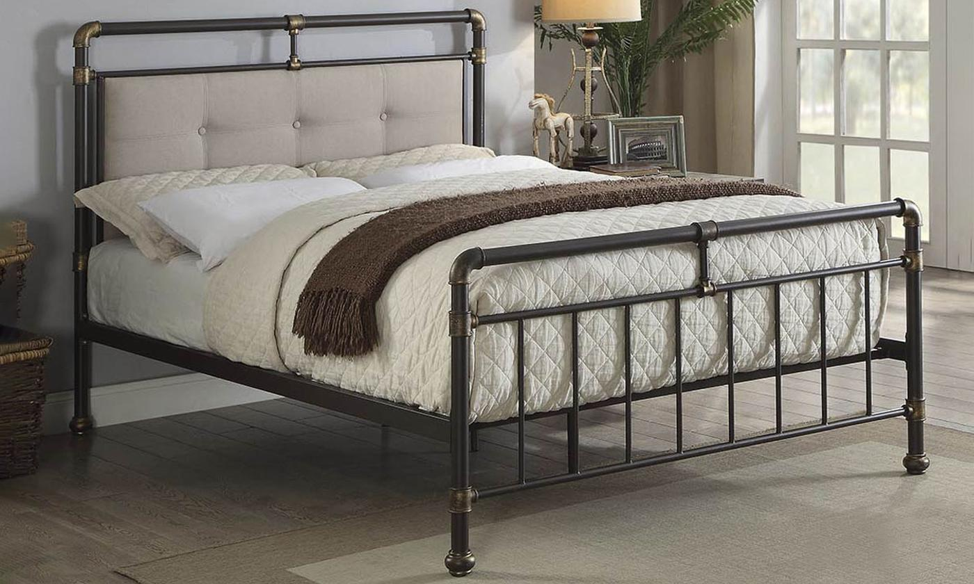 Oxford Industrial Styled Pipe Metal Bed Frame With