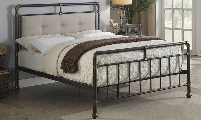 Oxford Industrial-Styled Pipe Metal Bed Frame with Optional 9″ Spring Mattress from £185