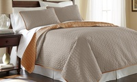 Groupon.com deals on Embossed or Quilted Reversible Coverlet Set (3-Piece)