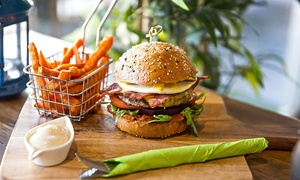 Bamboo Bean: Burger with Wedges and a Soft Drink for One ($9), Two ($18) or Four ($36) at Bamboo Bean (Up to $76 Value)