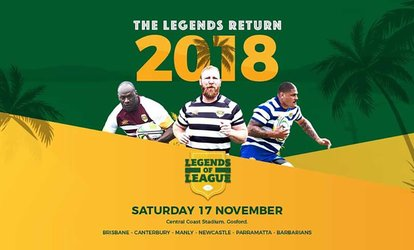 Legends of League 2018: Tickets from $15, Central Coast Stadium, 17 November 2018