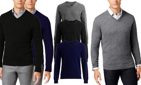 Jersey con cuello en V de cachemir y algodón para hombre