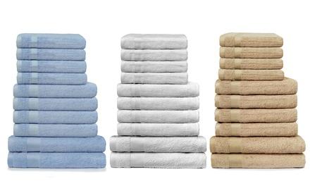 Set 10 asciugamani in morbida spugna 100% cotone disponibili in 3 misure e vari colori