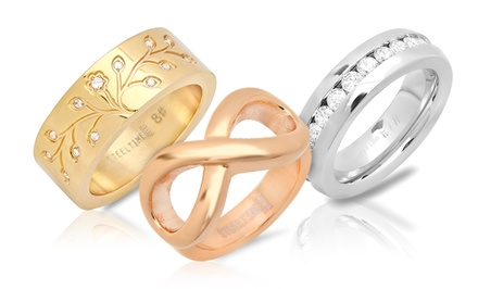 18-Karat Gold- or Rose-Gold-Plated or Stainless Steel Women's Rings