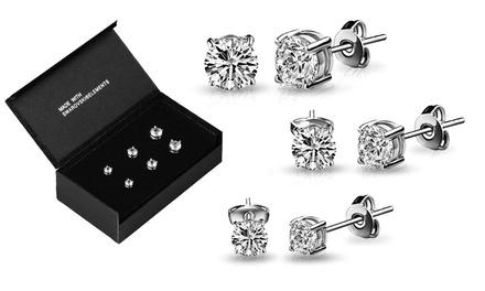 Pack de 3 boucles d'oreilles ornées de cristaux Swarovski