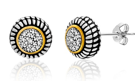Diamond Accent Round Halo Stud Earrings in 18K Gold Plating