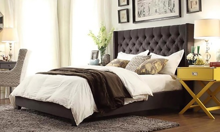 Skyline Upholstered Wingback Tufted Bed Frame (AED 3299) with Mattress (AED 3899)