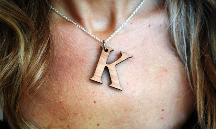 Wooden Initial Necklace: Wooden Initial Necklace from LilyDeal.com
