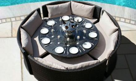 rattan effect round dining set