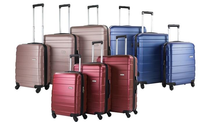 AMKA Verano Hardside Expandable Spinner Upright Luggage Set (3-Piece) | Groupon