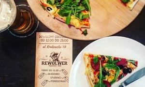 Rewolwer Pizza: Pizza 32 cm: dwie (29,99 zł), trzy (43,99 zł) lub cztery (57,99 zł) sztuki w Rewolwer Pizza (do -39%)