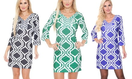 White Mark Augusta Moroccan-Print Dress