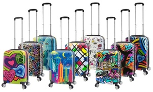 "MIA VIAGGI Designer Art Hardside 20"" Carry-On Spinner Luggage"