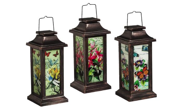 fluttering garden friends solar lanterns 3pack fluttering garden friends solar lanterns - Outdoor Solar Lanterns