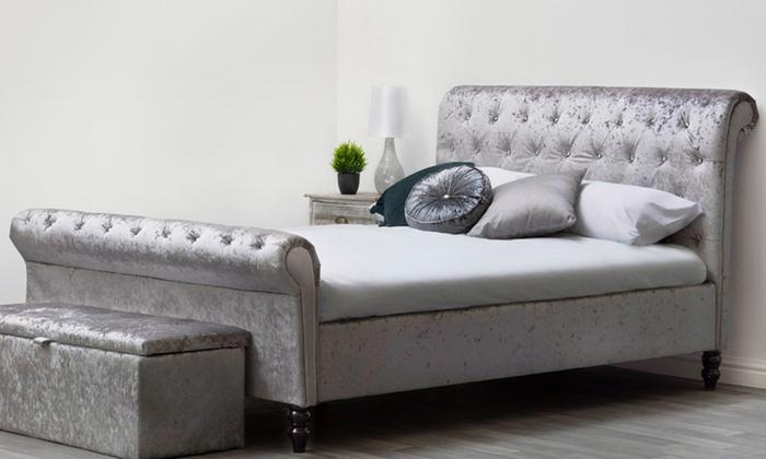 St James Diamante Sleigh Bed Groupon