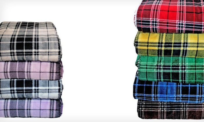 Plaid Micromink-and-Faux-Sherpa Throw: $19 for a Plaid Micromink Reverse-to-Faux-Sherpa Throw ($59.99 List Price). Free Shipping. Nine Colors Available.