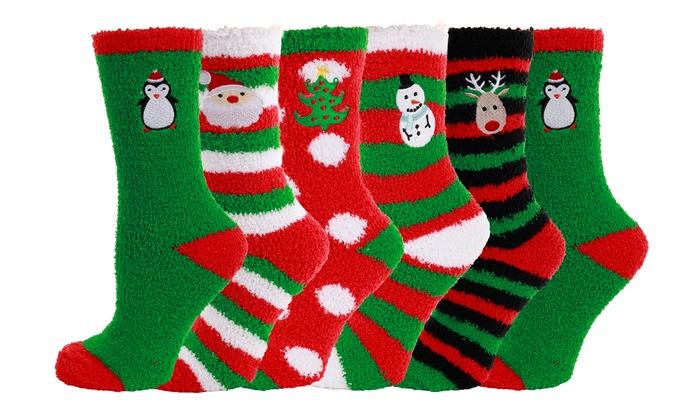 Women's Fuzzy Christmas Socks (6 Pairs)