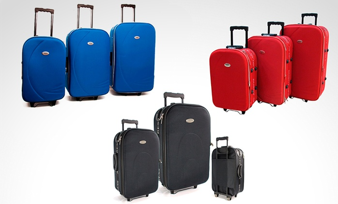 Desde $1979 en vez de $3279 por set de 3 valijas semirrígidas Art. 102 a elección con delivery o retiro en sucursal