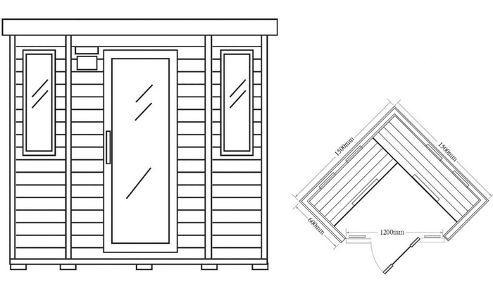 home deluxe infrarot saunakabine redsun groupon. Black Bedroom Furniture Sets. Home Design Ideas
